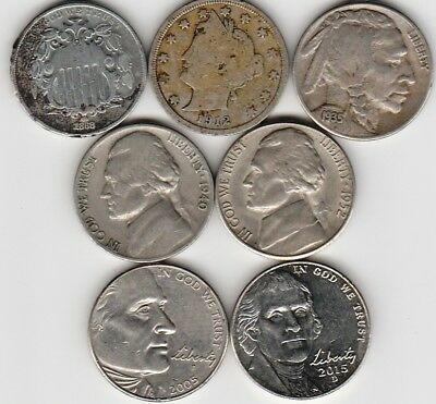 7 different 5-CENT coins from UNITED STATES OF AMERICA