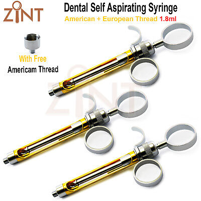 Set Of 3 Anesthesia Self Aspirating Syringes 1.8ml Dentist Cartridge Lab Tools