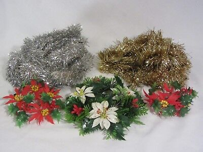 Vintage Plastic Holly Berry Candle Wreaths & Tinsel Garland Lot