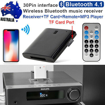 Wireless Bluetooth V4.1 A2DP Music Receiver Audio Adapter For 30Pin Dock Speaker