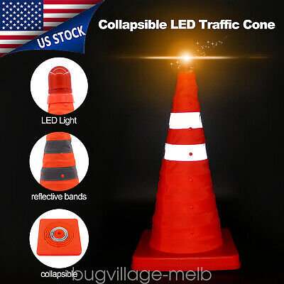 "17.8"" High VI Hazard Block Reflective Traffic Road Cone Collapsible LED Safety"