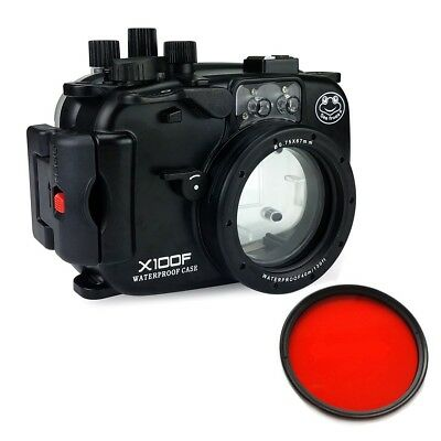 Seafrogs 40m Waterproof Underwater Camera Housing for Fujifilm X100F, Red Filter