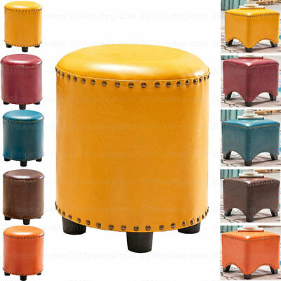 Faux Leather Ottoman Pouffe Footstool Dressing Table Piano Makeup Seat Stool