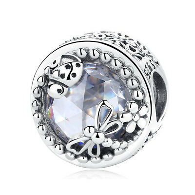 Authentic 925 Silver Enchanted Nature Clear CZ Charm Bead With Pouch Spring New