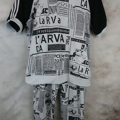 Womens S? Short Sleeve Striped Shirt Sweat Pants Black White Set Graphic Design