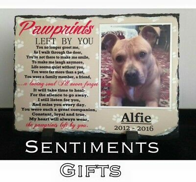 Pawprints Pet Memorial Slate, Personalised Photo Poem Dog