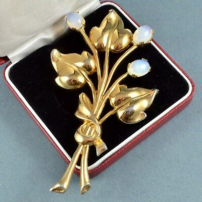Vintage Brooch CORO Large 1940s Faux Moonstone Goldtone Flower Bridal Jewellery