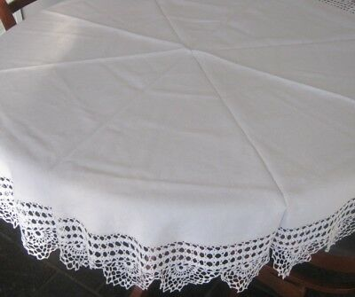 Vintage Linen Tablecloth ~ Crocheted Cotton Lace Edge ~ White ~ Round
