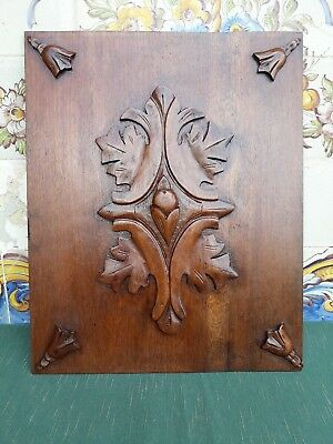 Antique French Hand Carved Wood Architectural Panel