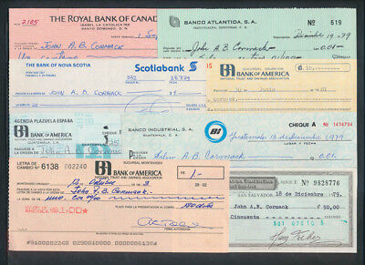 "Central & South America: 1978-83 ""COLLECTION OF 8 CHEQUES"" Some Scarce"