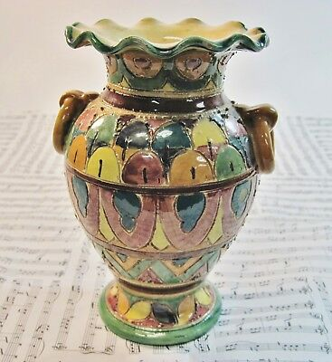 Vintage Multi Color Italian Ceramic Art Pottery Hand Painted Vase Made In Italy