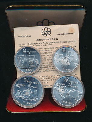 Canada: 1973 4.32oz  Silver 4-UNC-Coin Set 1976 Montreal Olympic Game Series I
