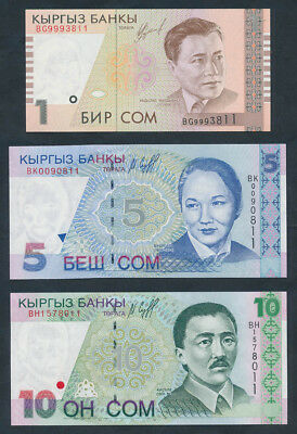 "Kyrgyzstan: 1997-2002 1 to 100 Com SET OF 6 MATCHING NOS ""11"". UNC Cat $50"