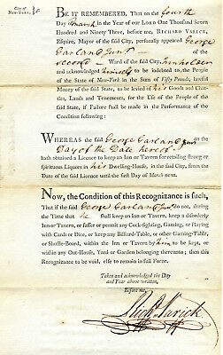 Revolutionary War General Richard Varick 1793 Tavern License Signed As Ny Mayor