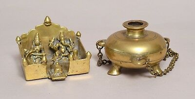 Unusual Antique Indian Asian Bronze Figure, Dated & Tripod Censer Prob 18Thc