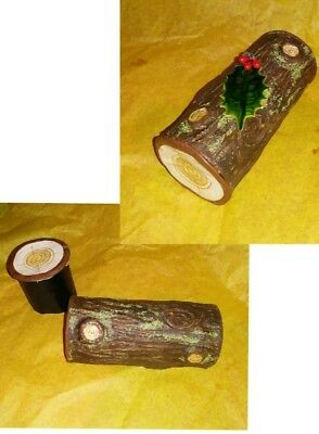 Paper Mache log candy container/ for collectibles display & figures .large size