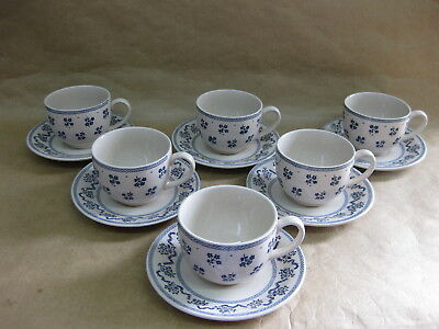 6 Laura Ashley Petite Fleur Cups & Saucers Johnson Bros. Ironstone Blue & White