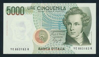 """Italy: 4-1-1985 LAST 5000 Lire """"REPLACED BY EURO"""". P111b UNC Lt handling Cat $27"""