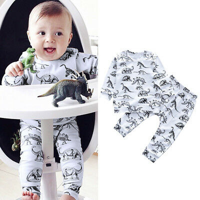 Baby Boys Girls Dinosaur Long Sleeve Tops T-shirt+Long Pants Clothes Outfits Set