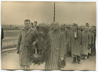 Wwii Large Size Press Photo: Auschwitz Concentration Camp Survivors At Ceremony