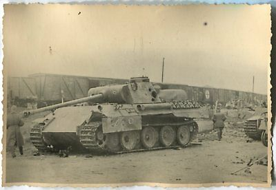 Wwii Photo: Damaged Panzer V Panther Tank At The Railway Station