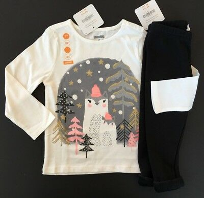 70732bc17e655 NWT Gymboree Girls Fox Friends Tee & Warm and Fuzzy Leggings Outfit 2T 3T  4T 5T