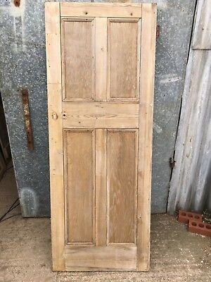 "29 3/4""x77"" Reclaimed Old Stripped Pine Four Panel 2 Over 2 Narrow Internal Door"