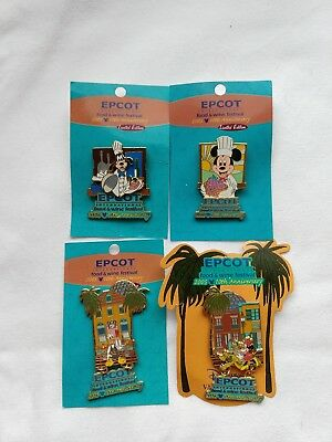 Lot of 4 Epcot Food and Wine Festival 2005 pins limited edition, Vacation Club