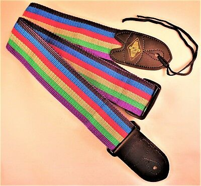 RotoSound Guitar Strap with Leather Ends for Electric/Guitar/Bass Multi-Stripe