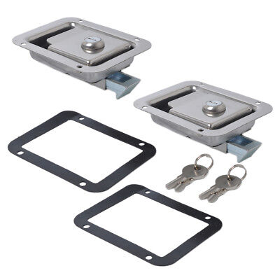 2x Marine Stainless Steel Paddle Latch Truck Trailer Tool Box Lock Latch&Key