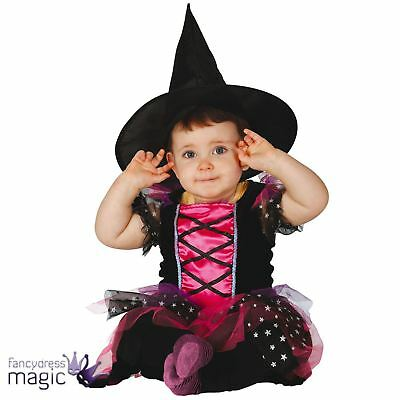 Baby Girls Toddlers Little Pink Witch Halloween Fancy Tutu Dress Costume And Hat