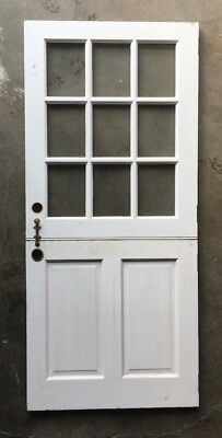 Vtg Solid Wood Dutch Door 9 Lite 80x36 Shabby Cottage Exterior Entry 392-18E