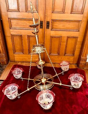 Large Antique 6 Arm Brass Gasolier Converted Electric From Grand Victorian Home