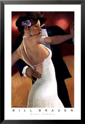 "18W/""x30H/"" FIRST WE DANCE by BILL BRAUER COUPLE BALLROOM DANCING DRESS CANVAS"