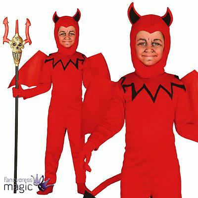 Boys Kids Childs Red Devil Demon Fancy Dress Costume Halloween Outfit 8-13 Yrs