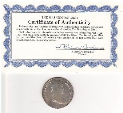 1819 Eight Reale America's First Silver Dollar with COA from The Washington Mint