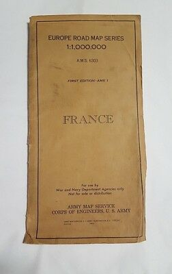 WWII 1944 Army Road Map of France 1st Edition AMS1 by Army Map Service