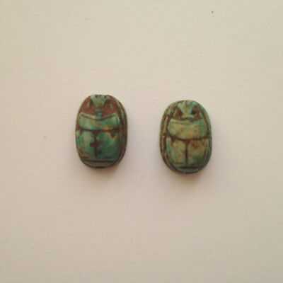 2 Vintage Art Deco Egyptian Revival Faience Scarab Beetle Ceramic Stone Beads
