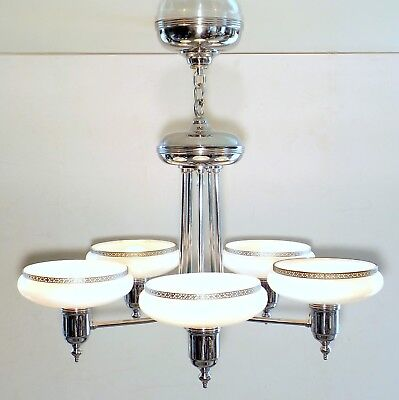 Vintage Art Deco GILL MFG Chrome Chandelier Hanging Ceiling Fixture Glass Shades