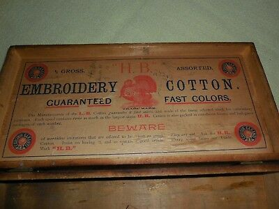 Antique HB H B Embroidery Cotton Thread Wood Spool Box Cabinet Vintage Old