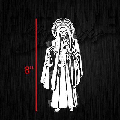 Santa Muerte Holy Death 8 Decal White Free Shipping