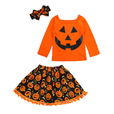 Baby Girls Halloween Outfit Fancy Dress Up Pumpkin Costume Set Outfit