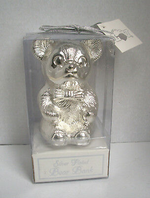 """Silver Plated Bear Bank_Delta Enterprise Corp_5"""" high_Bear with Bow Tie_New"""