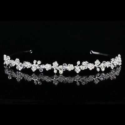 Floral Bridal Headpiece Rhinestone Crystal Wedding Tiara Headband V908