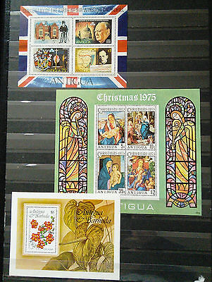 Collection Of Three Mini Sheets From Antigua - Churchill, Christmas And Flowers