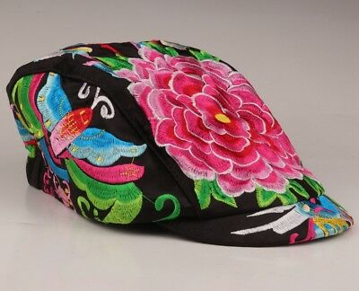 Chinese Embroidered Baseball Cap Duck Tongue Cap Peony Flowers Curved Eave