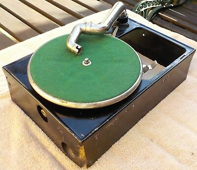 Small portable gramophone unit without its case, working; Garrard 20 motor
