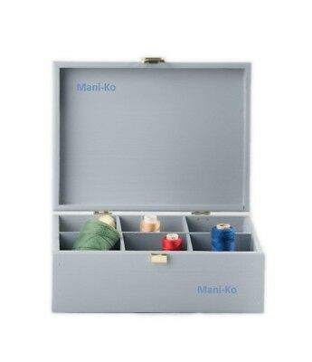 Grey Wooden Box 6 Compartment Chest Thread Needle Reel Sewing Accessorie Storage