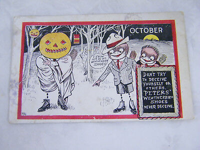 Vintage RARE Halloween Peters Shoe Co. St. Louis, MO Postcard
