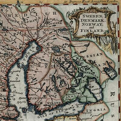 Scandinavia Norway Sweden Finland Livonia 1756 old antique map Jefferys color